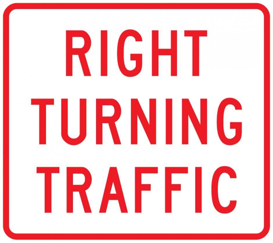 Priority Give Way `Right Turning Traffic` supplementary