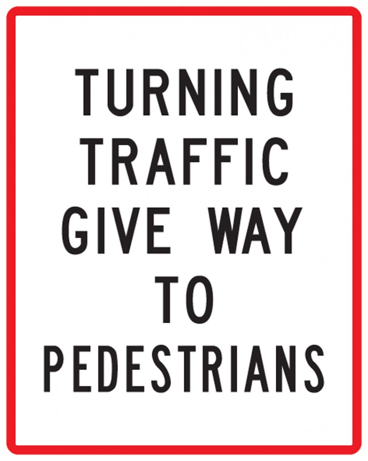 Turning Traffic Give Way to Pedestrians