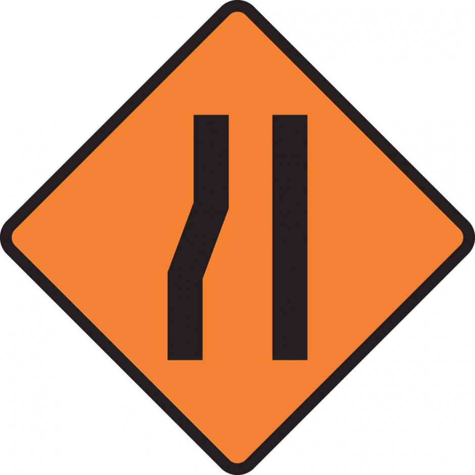 One Lane Road Narrowing (left)