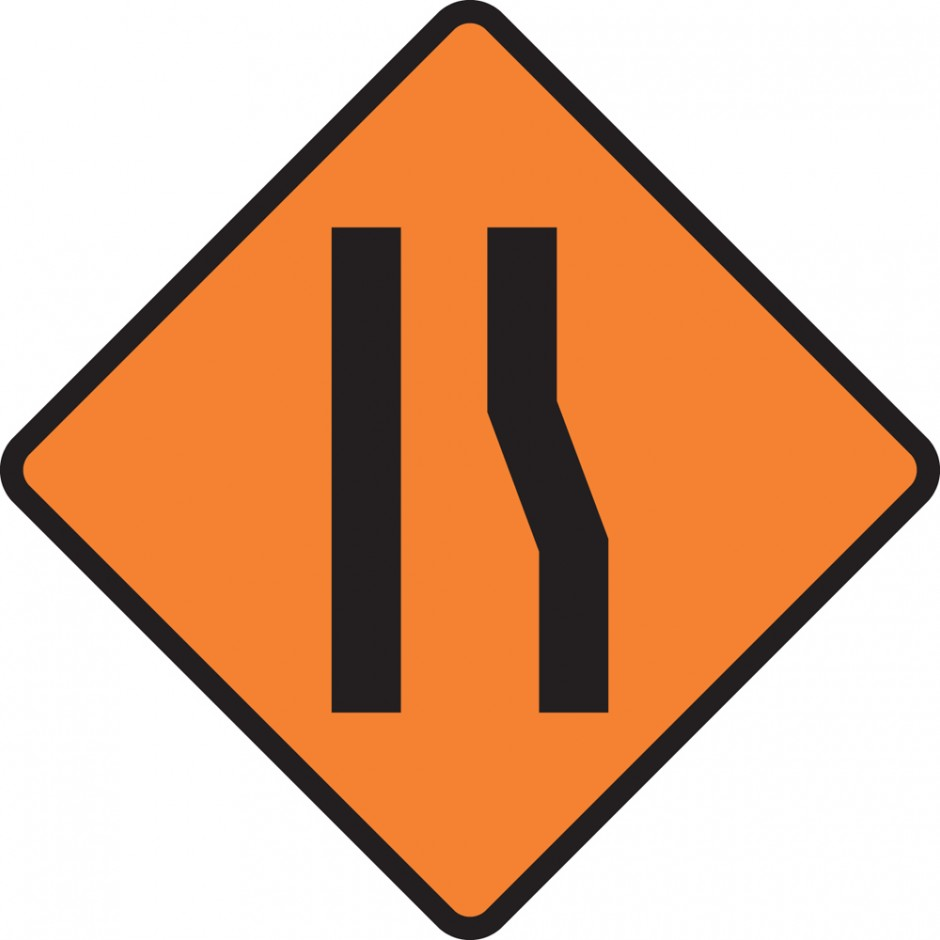 One Lane Road Narrowing (right)