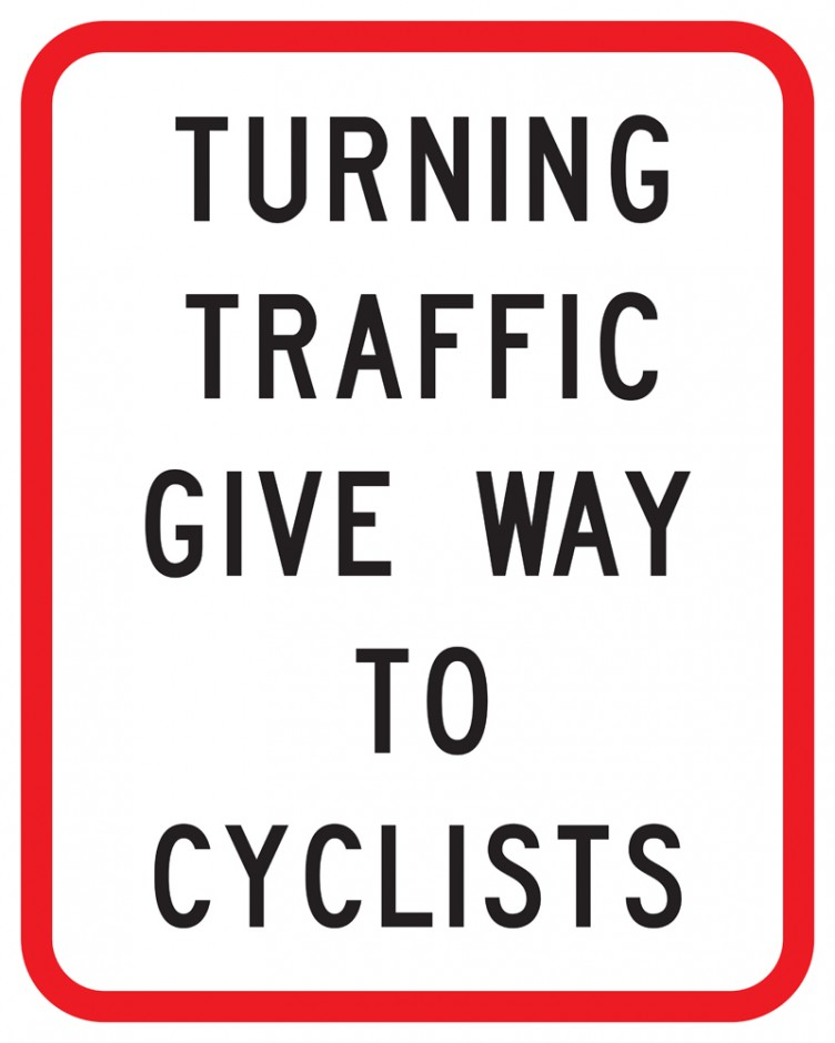 Turning Traffic Give way to Cyclists Supplementary