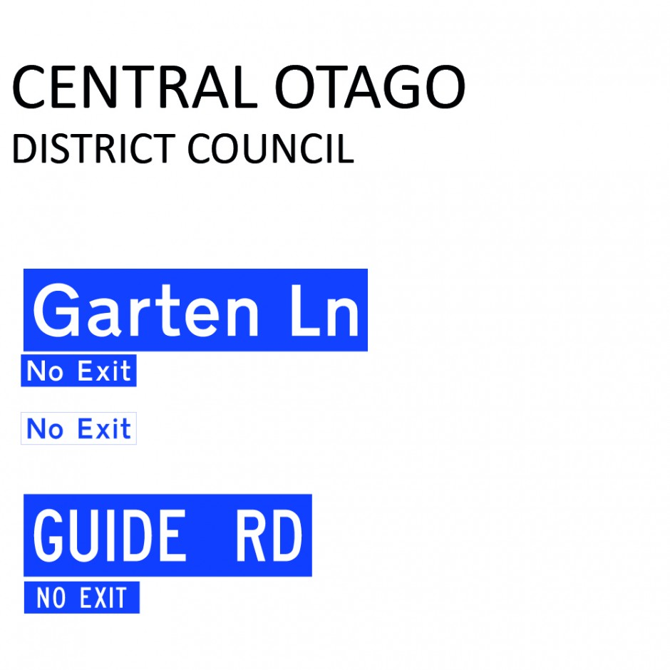Street Name Blades - Central Otago District Council (CODC)
