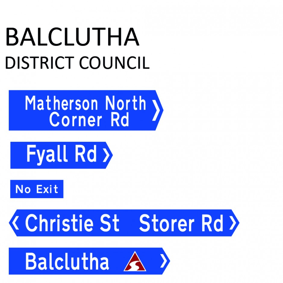 Street Name Blades - Balclutha District Council (BDC)