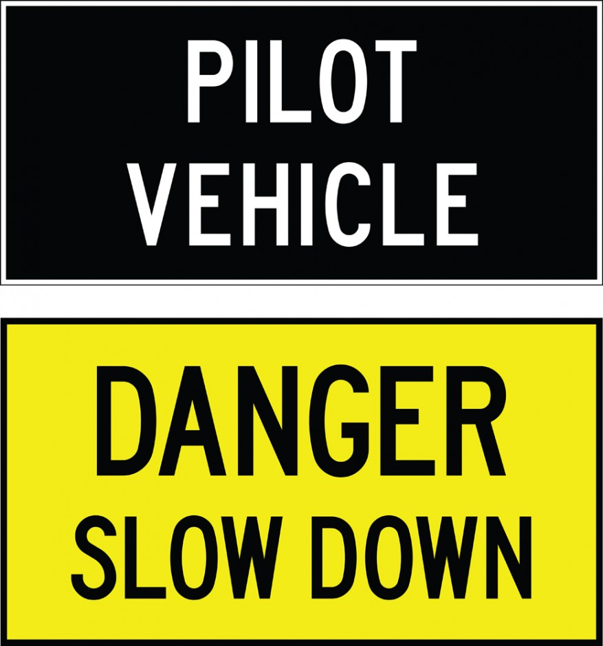 Double-sided Pilot Vehicle Signs - Pilot Vehicle / Danger Slow Down