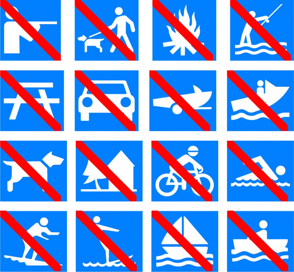 Outdoor Recreational Symbols with Prohibit Bar