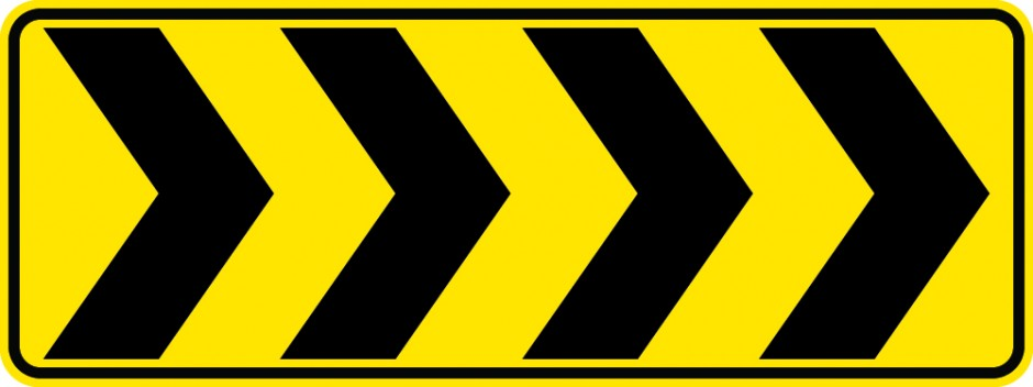 Roundabout Chevron (Black on Yellow)