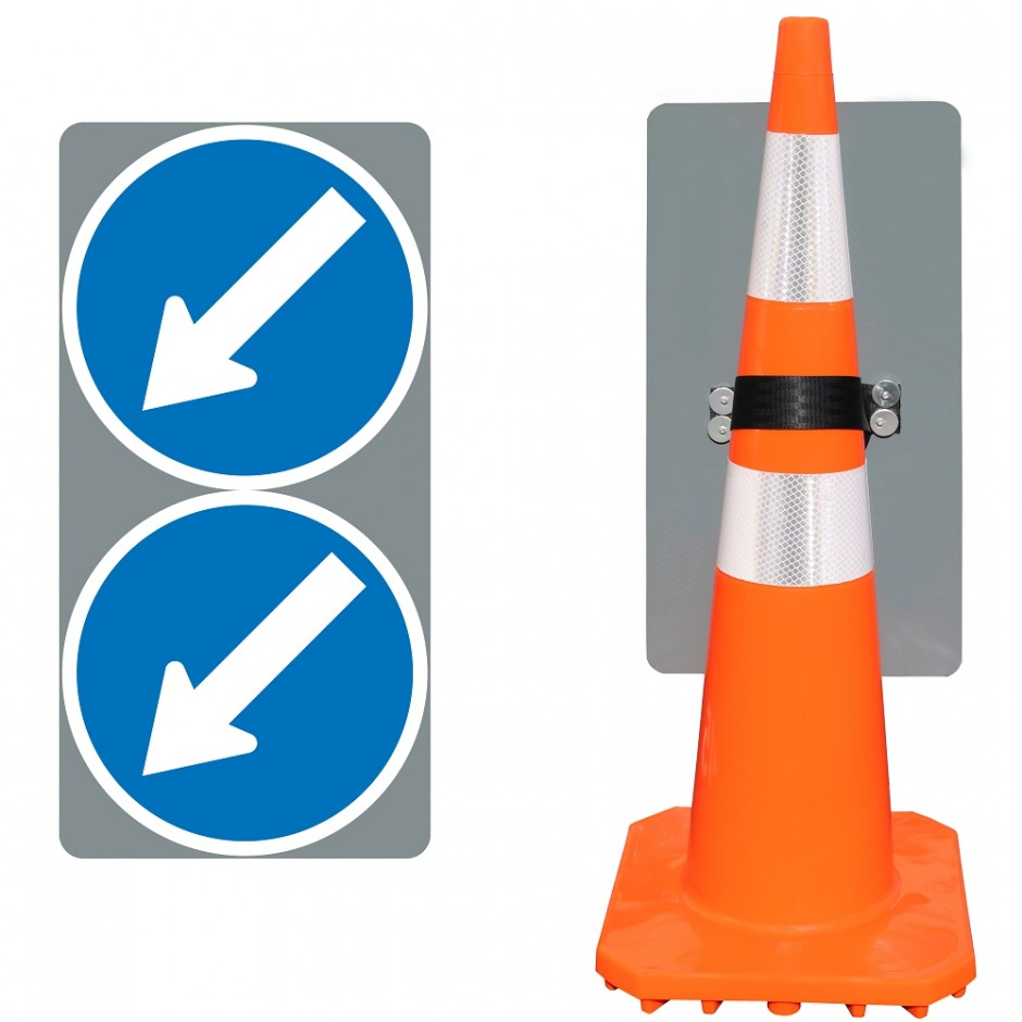 Twin Disc Keep Left Sign (Cone Mounted)