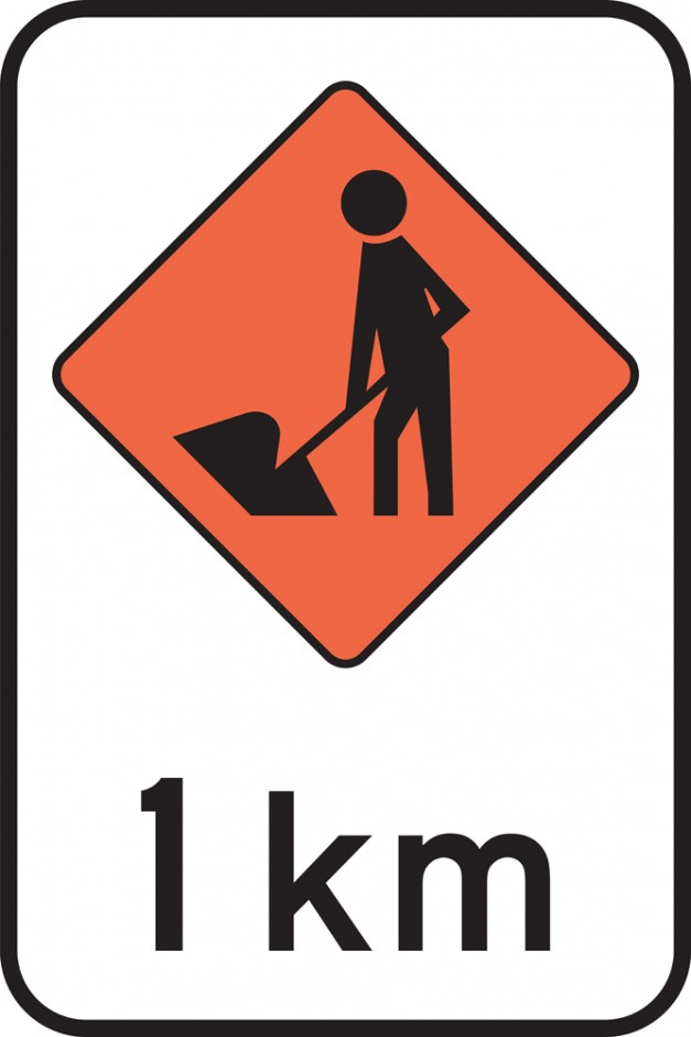 Road Works - 1 or 2 km