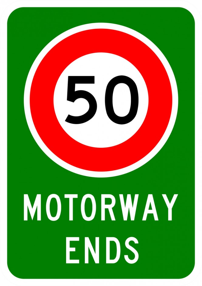 Motorway Ends Sign (with Speed Sign)
